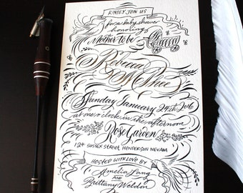 Baby Shower Invite in Digital Calligraphy for printing letterpress handmade wedding