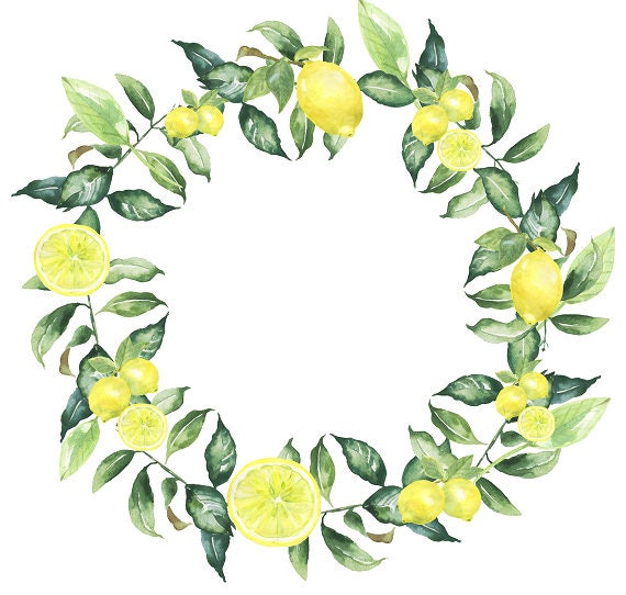 Lemon Clipart Green Leaves Lemon Leaf Watercolor Wreath