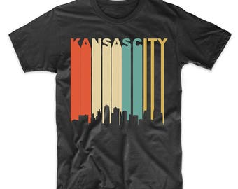 Vintage Retro 1970's Style Kansas City Missouri Downtown Skyline T-Shirt
