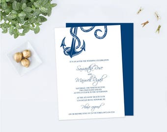 Customizable ELOPEMENT Invitation, Editable Text Acrobat Reader Template, Nautical Were Eloping Announcement, DIY Invite That Can Be Edited