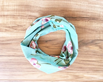 Baby Toddler Child Infinity Scarf - Calico Floral mint scarf - READY TO SHIP