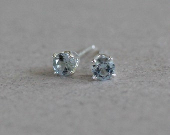 Aquamarine Stud Earrings-Aquamarine Studs-March Birthstone Earrings-3mm Aquamarine Stud Earrings-3mm Studs-Something Blue-Gift for Her