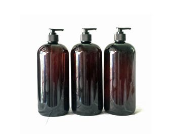 32oz Plastic Bottles Amber PET Round Bottles w/ Black Lotion Pumps Available in 1, 3 + Kraft Labels