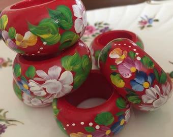 French Country handpainted wood Napkin Rings Set of 6