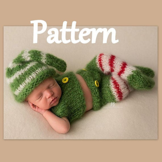 ad034af45 Newborn Baby Christmas Elf KNITTING PATTERN - baby holiday costume - baby  elf outfit - Christmas