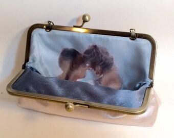 Personalize Photo Lining Clutch Bridal Clutch or Bridesmaids Clutch Dupioni Silk CUSTOMIZE