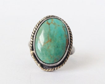 Kingman Turquoise Ring with 18K Gold Accent - Size 5 Ring - 25th Silver Anniversary Gift - December Birthstone