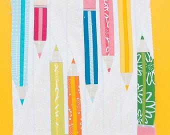 Pencils Paper piecing pattern - Quilt block pattern