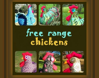 Colorful chicken doll doorstop or table decoration made to order  - you choose colors and trims!