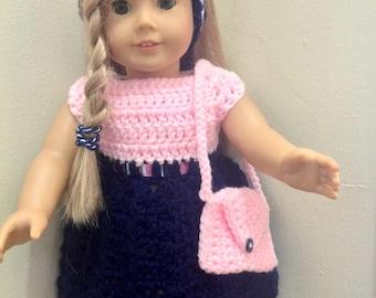 "18"" Doll 3 piece. Dress. Hairband and Purse"