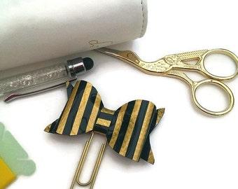 Bow Planner Clip-Black Gold Stripe-Vinyl