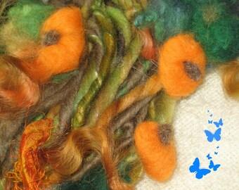 Handspun Art Yarn / Autumn Pumpkin / Handmade One of a kind