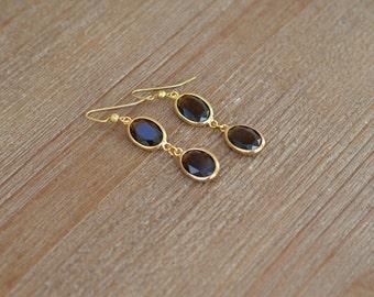 CLOSEOUT Amber Drop Earrings - Brown Earrings - Brown and Gold Oval Earrings - Gold Dangle Earrings - Rhinestone Teardrop Earrings