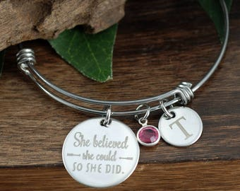 She believed she could So She Did, Graduation Jewelry, Gift for Graduate, Personalized Initial Bracelet, Graduation Gift, Gift for Friend