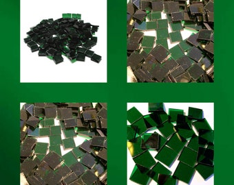 Dark Green Cathedral Squares Stained Glass Mosaic Tiles Hand Cut Transparent