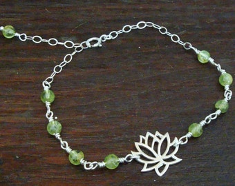 Lotus Charm with Wire Wrapped Small Round Green Peridots Sterling Silver Bracelet  ~~~AUGUST BIRTHSTONE~~~