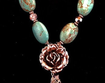 Turquoise & Silver Flower Necklace