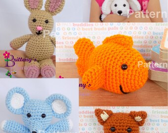 Easy Crochet Pattern Pack Stuffed Animal Crochet Pattern Pack House Animal Pattern Pack Easy Crochet Pattern Buy 4 Get 1 FREE!!