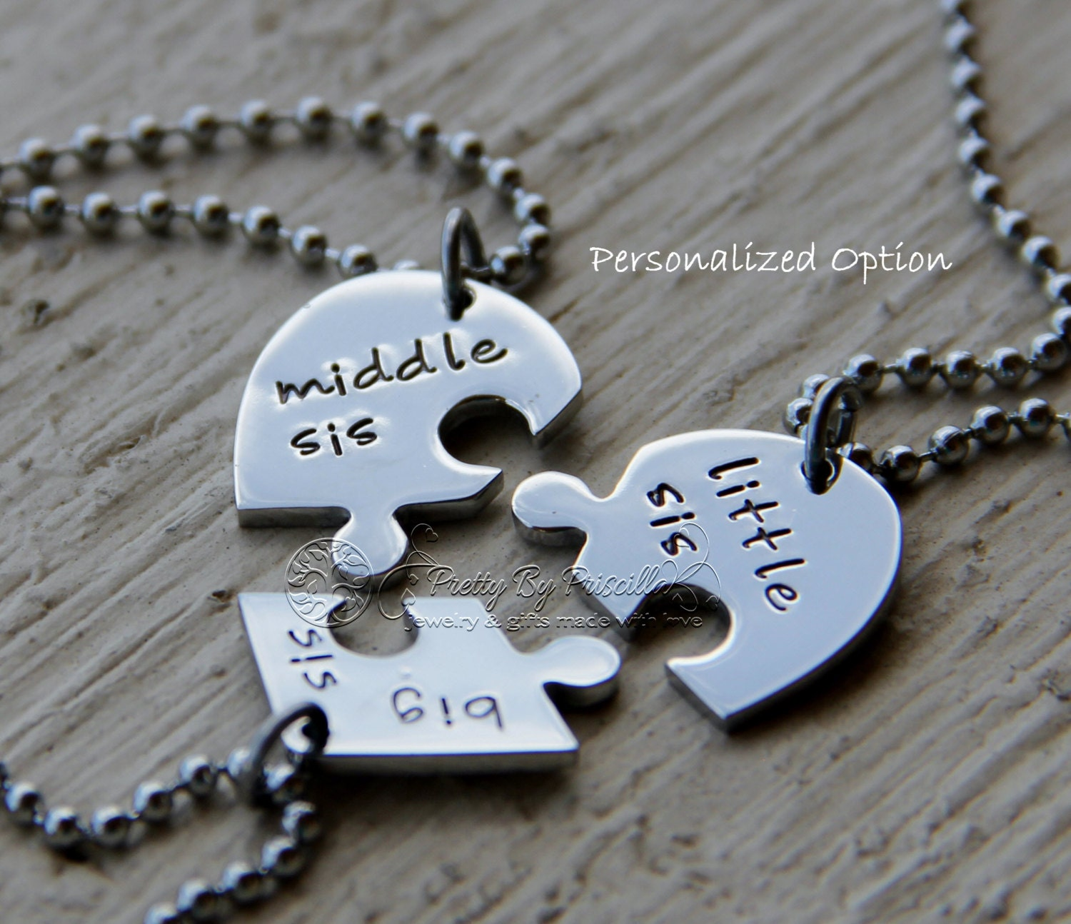 product enhanced personalised engraving set friendship necklace jigsaw silver puzzle lr piece