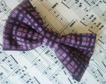 Plum plaid bow tie - boy's clip on