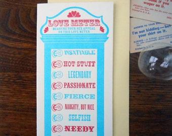 letterpress customizable vintage arcade love meter greeting card valentine secret admirer