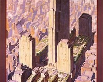 1950's Rockefeller Center New York A3 Poster Reprint