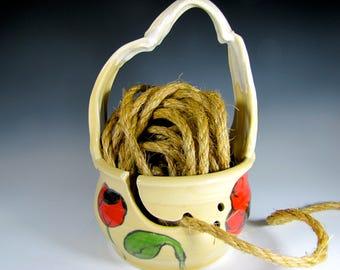 Yarn bowl yarn holder knitting bowl pottery bowls crocheting ceramic yarn bowl handmade handcrafted poppies poppy