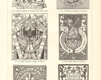 1903 Vintage Print of Bookplates or Ex-librīs