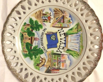 Scarce 1940-50s Nevada Classic Las Vegas Reno Boulder Dam Souvenir State Plate Mid-Century Collectible Kitsch