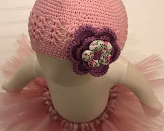 Pink Crochet Hat with Lavender Flower-Baby