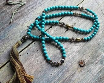 Long bohemian necklace, blue mala gemstone necklace, mala 108 beads, meditation jewelry, buddhist prayer beads, yoga jewelry, christmas gift