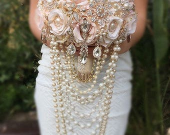 Draping Rose Gold Brooch Bouquet- Rose Gold and Gold Blush Pink and Ivory Bouquet, Cascading Pearl Brooch Bouquet - DEPOSIT ONLY