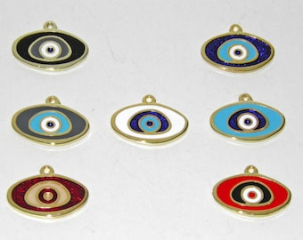 7 Pcs Oval Metal Evil Eyes - Gold Tone - With Enamel Color Blue, Red, Light Blue, Grey, Black or White Mixed