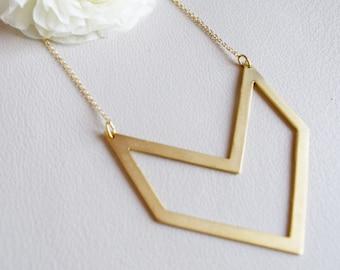 Chevron Necklace, Long Chevron Necklace, Double Chevron Necklace, Gold Chevron, 24k Gold Plated Chevron Long Necklace