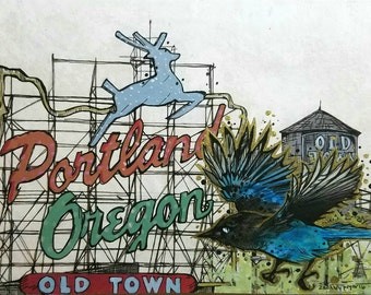 Portland Oregon White Stag Sign Stellars Jay Original Giclee print
