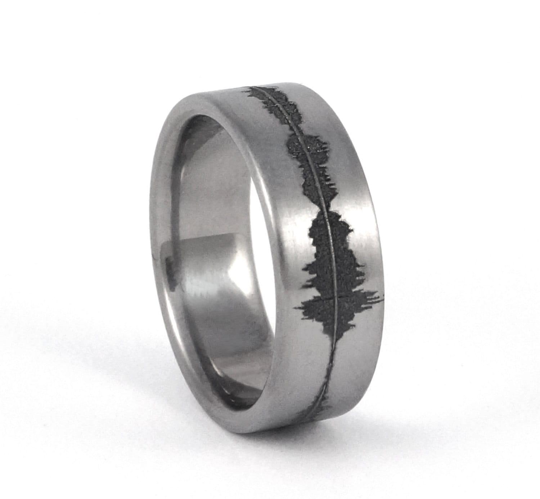 Custom Titanium Soundwave Ring Geek Wedding Band for him