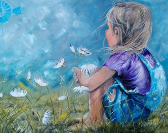 South-African Art | Acrylic Painting | Painting of Daisies | Kids Art | Paintings with kids | Titled: Bella Blom / Beautiful Flower