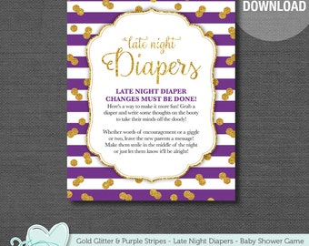 Gold Glitter and Purple Stripes Late Night Diapers Baby Shower Game Printable, Late Night Diapers, Instant Download, Diaper Message, Girl,4G