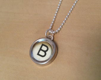 Letter B Typewriter Key Jewelry Charm Necklace. White Typewriter key with Black letter.  NO GLUE. Sterling silver.