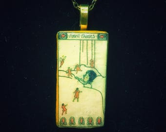fairy tales Night fairies - Domino pendant necklace - vintage matchbox label