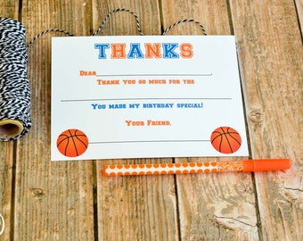 Kids Fill In the Blank Basketball Thank You Notes / Kids Thank You Notes / Childrens Thank You Note Cards / Fill In The Blank Basketball