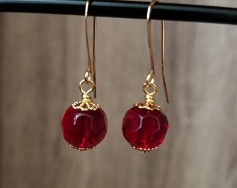 Gold & Round Ruby Red Faceted Drop Earring