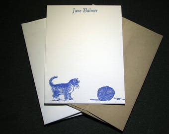 Custom Letterpress Stationery - 15 Personalized Notecards - Kitten