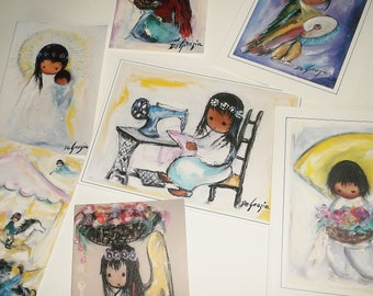 18 Vintage TED DEGRAZIA Greeting Cards w/ Envelopes • variety