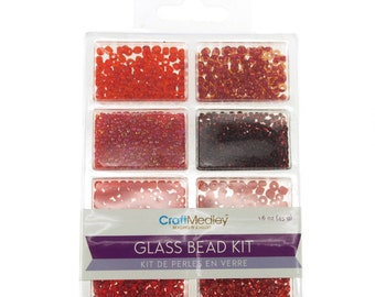 Loose Glass Beads Kit, Rouge, 45-gram