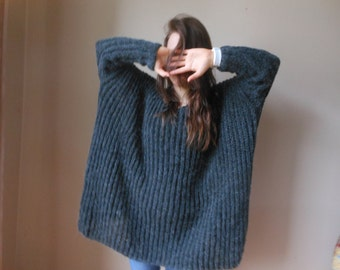 Oversized Plus Size Hand Knit Sweater Tunic Loose Knit Women's Sweater Dark Gray Carcoal