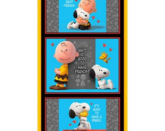 """Charlie Brown and Snoopy Good Friends Fabric Panel / Peanuts Quilt Panel / 24"""" Fabric Panel by Quilting Treasures"""
