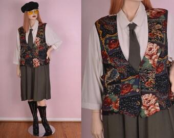 80s 90s Suit Dress/ US 16/ 1980s/ 1990s/ Long Sleeve/ Floral