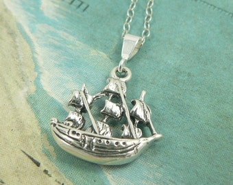 Pirate Ship Sterling Silver Boat Charm Necklace Avast Me Hearties