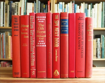 Collection of ten decorative hardcover books in red bindings - Free US Shipping